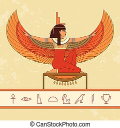 The Egyptian goddess Isis. Animation portrait of the beautiful Egyptian woman.
