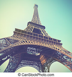 Eiffel Tower - The Eiffel Tower in Paris, France. Toned...