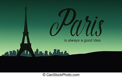 The Eiffel tower in Paris of silhouette
