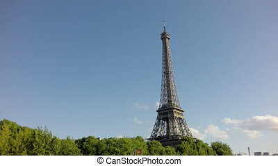 The Eiffel Tower in Paris, Sliding camera from Sena -...