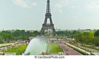 The Eiffel Tower in Paris, time-lap