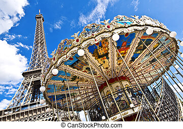 Paris - The Eiffel Tower seen from Trocadero carousel,...