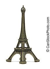 The Eiffel tower souvenir, on a white background