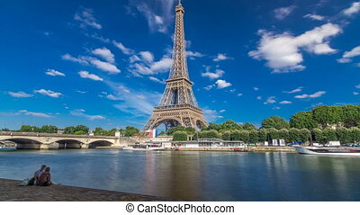 The Eiffel tower timelapse hyperlapse from embankment at the...