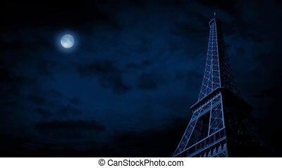 The Eiffel Tower Under Full Moon