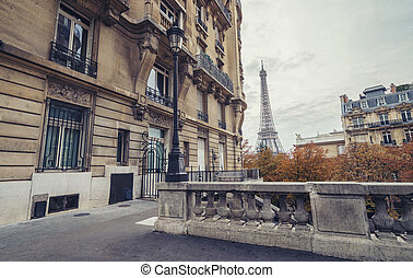 the Eiffel Tower view from the Avenue de Camoens in paris,...