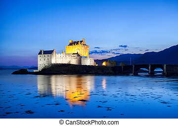 The Eilean Donan Castle in the evening, Highlands of Scotland