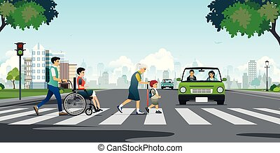 The elderly are crossing the road.