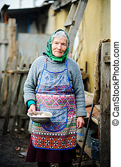 The elderly countrywoman gathers eggs in a hen house.
