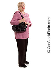 The elderly woman with a bag