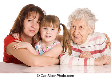 The elderly woman with the granddaughter