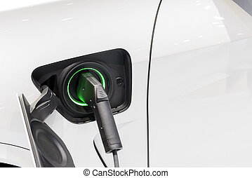 The electric car charger plugged in to the socket. The ...