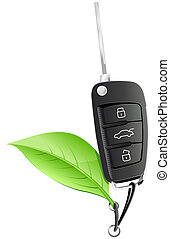 Electric Car Key - The Electric Car Key with the green leaf