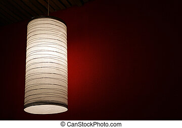 The electric fixture with a lamp shade, in a room