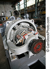 The electric motor at a modern repair factory