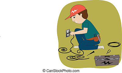 The Electrician - An electrician working. He has a toolbox,...