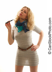The electronic cigarette in the hands of sexual blondes -...