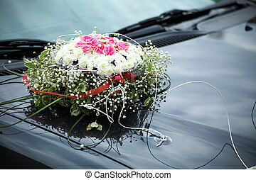 The elegant car for a wedding celebration