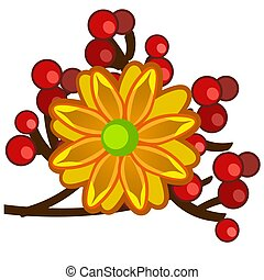 The element of autumn decor in the form of a bright orange flower with red berries isolated on white background. Vector cartoon close-up illustration.