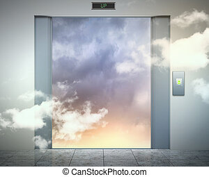 elevator doors and the natural landscape - the elevator...
