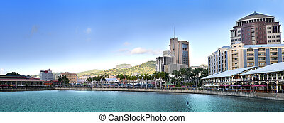 Port-Louis- capital of Mauritius , - The embankment at ...