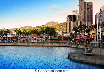 The embankment at sunset, Port-Louis- capital of Mauritius