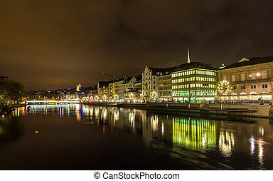 The embankment of Zurich at night - Switzerland