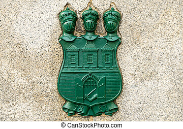 The emblem of the capital city of Prague and the date of the...