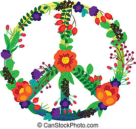 The emblem of the hippie flowers on a white background. Vector illustration.