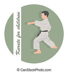 The emblem, the boy is engaged in karate on a green...