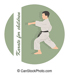 The emblem, the boy is engaged in karate on a green background