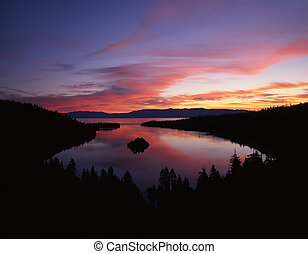 The Emerald Bay section of Lake Tahoe photographed from the California side.