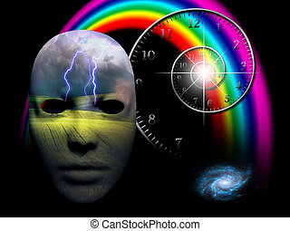 the emotional mind - thunderstorm rages in human face mask