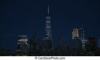 The Empire State Building at night-USA-New York-September