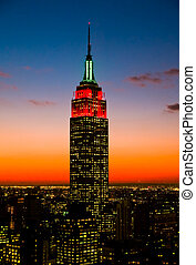 The Empire State Building and Manhattan Skylines at sunset