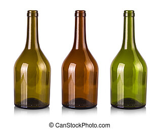empty bottles of wine isolated on a white background