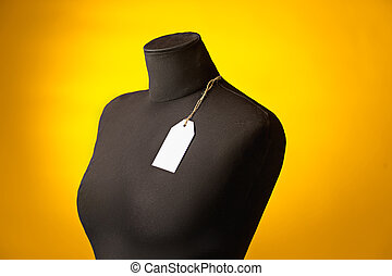 The empty dummy, sale price tag hanging from the button...