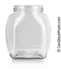 The empty glass bottle isolated on white background.