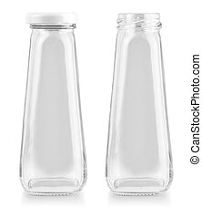 The empty glass bottle isolated on white background with clipping path