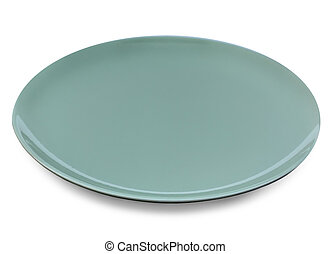 empty green plate on white background. Selective focus