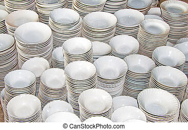 The Empty of bowl and plate background texture