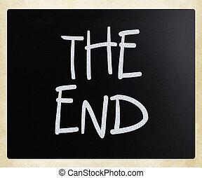 """the, end"", 手写, 带, 白色, 粉笔, 在上, a, 黑板"