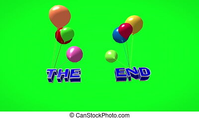 The end 3d text flying on balloons on green screen