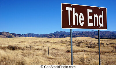 The End brown road sign