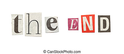 The End, Cutout Newspaper Letters - The End - words composed...