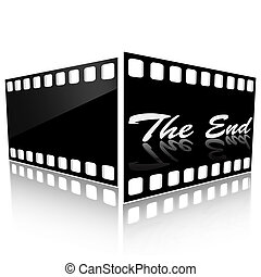 The end - Two films of black color on a pure background