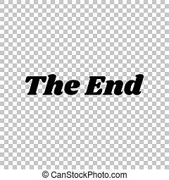 The End inscription. Black icon on transparent background. Illustration.