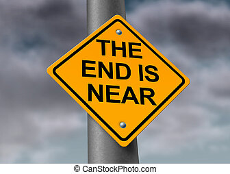 The end is near road and armageddon sign with a dark stormy cloud background as a warning symbol of a great disaster that will result in great distruction of the world and final extinction of man on the fragile planet.