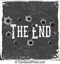the end label over gray background vector illustration