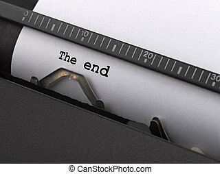 """""""The end"""" message typed by vintage typewriter."""